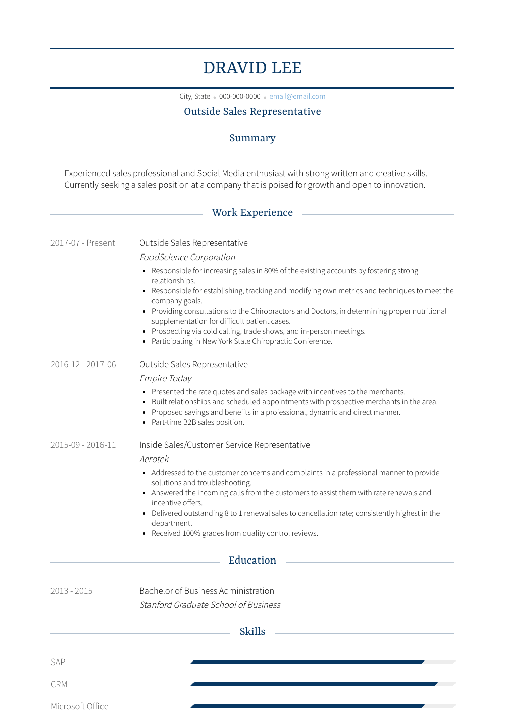 Outside Sales Representative Resume Sample and Template