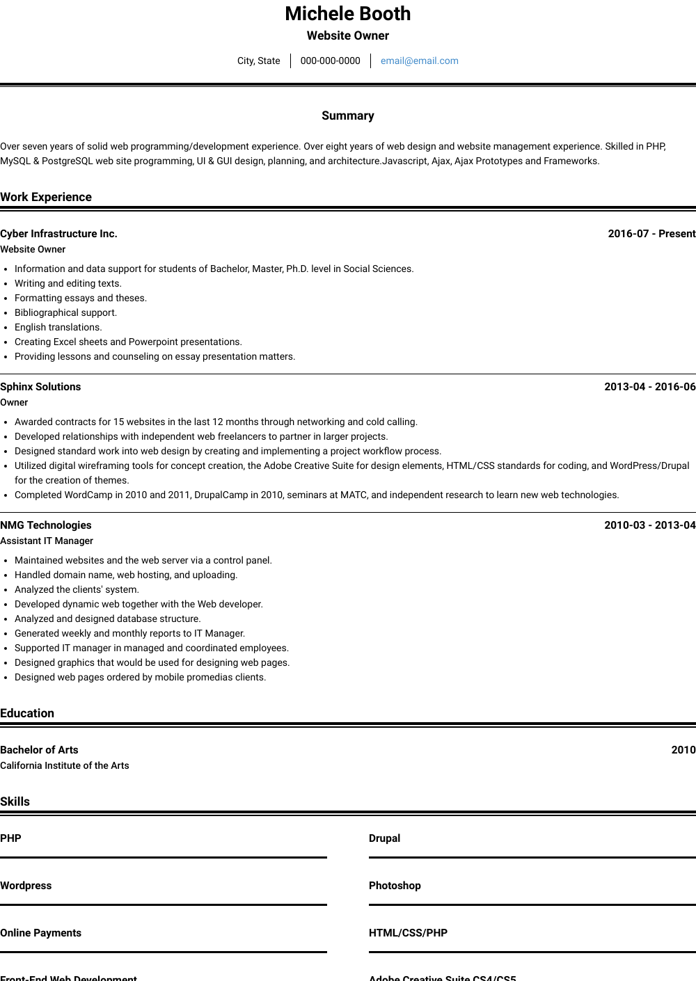 Website Owner Resume Sample and Template