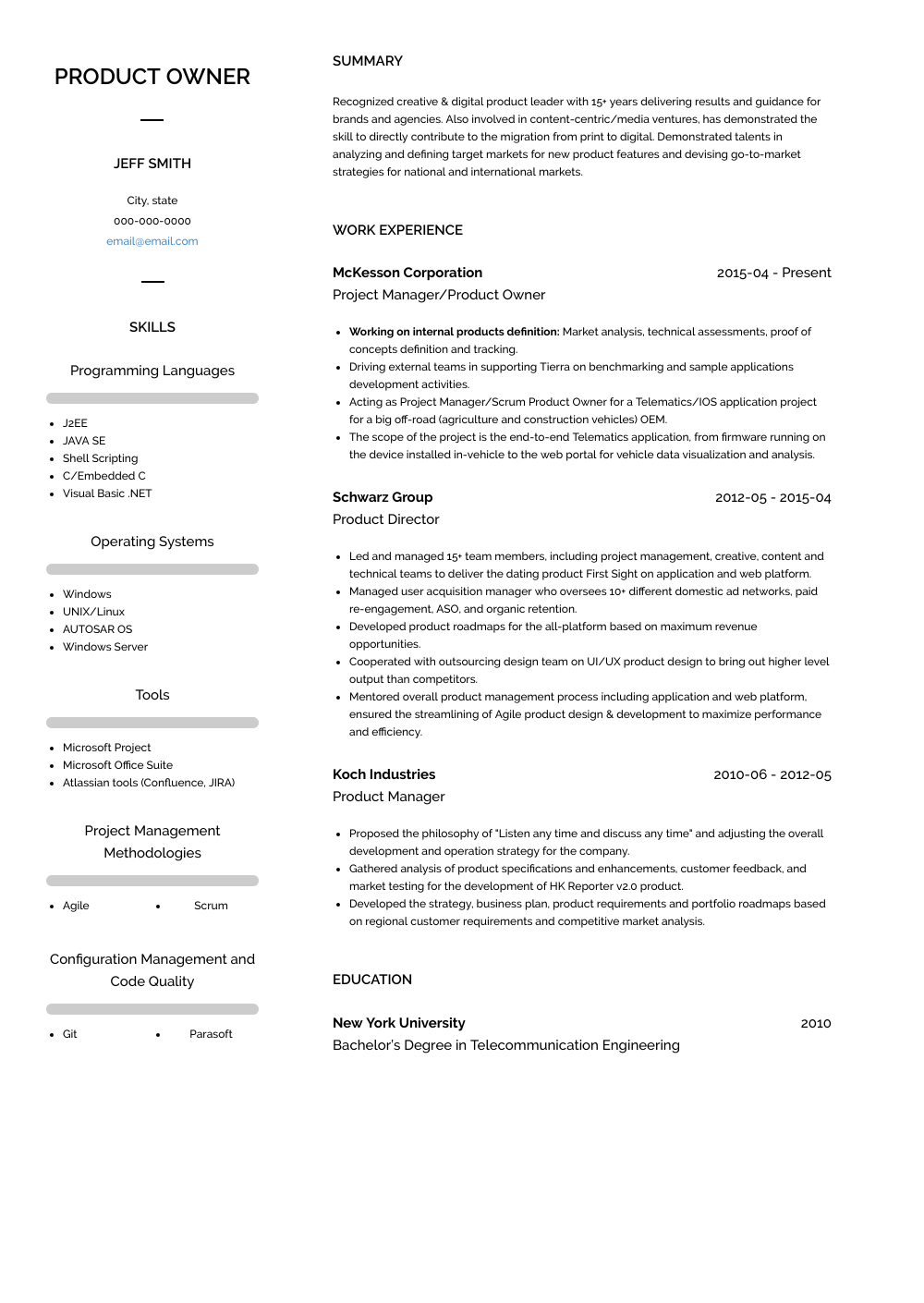 Owner Resume Sample