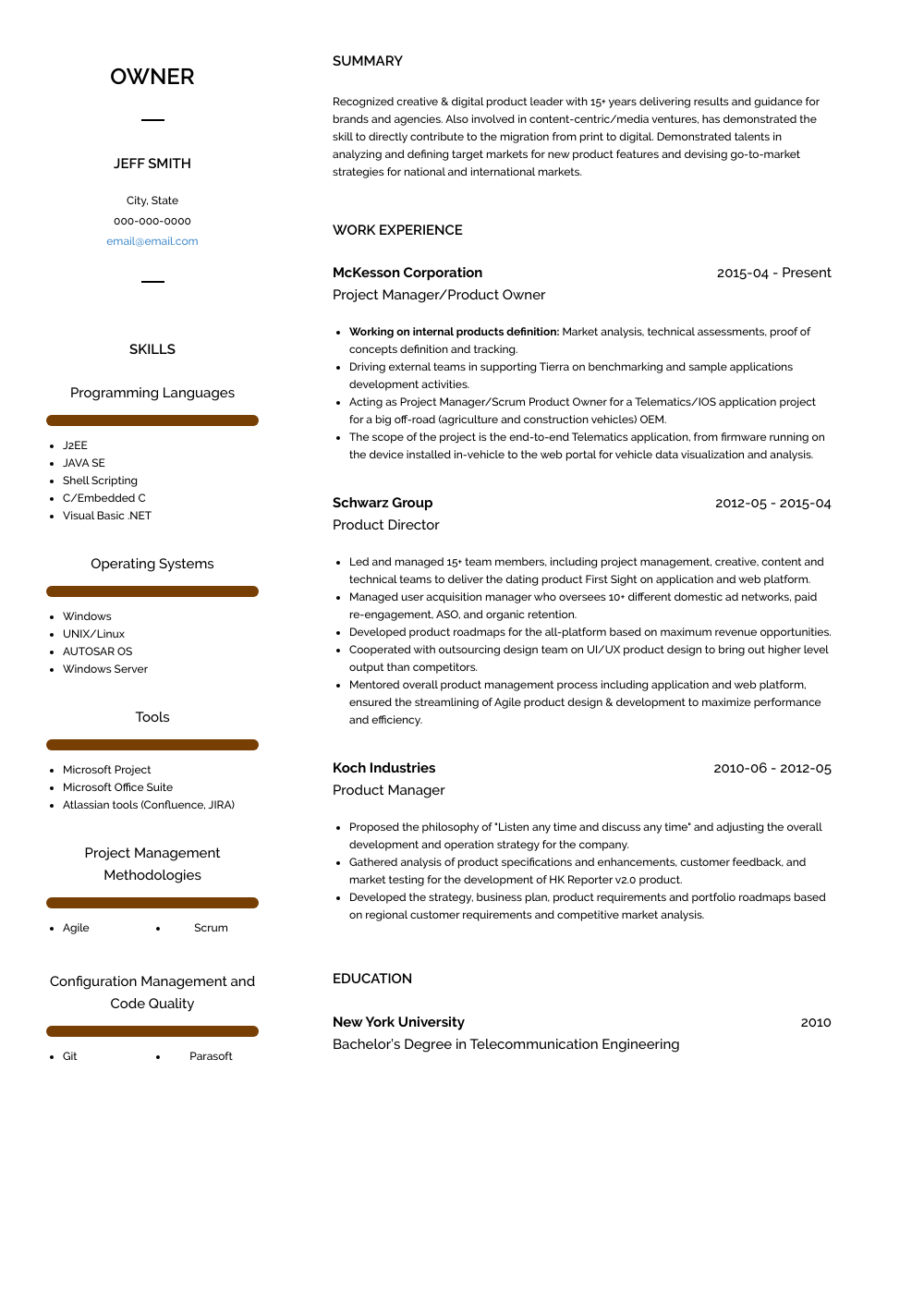 Owner Resume Sample and Template