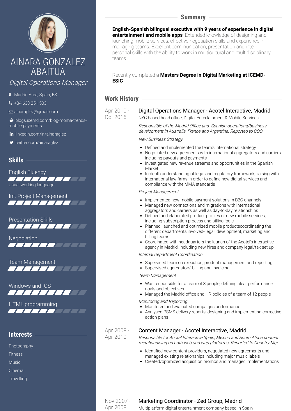 Operations Manager - Resume Samples & Templates | VisualCV