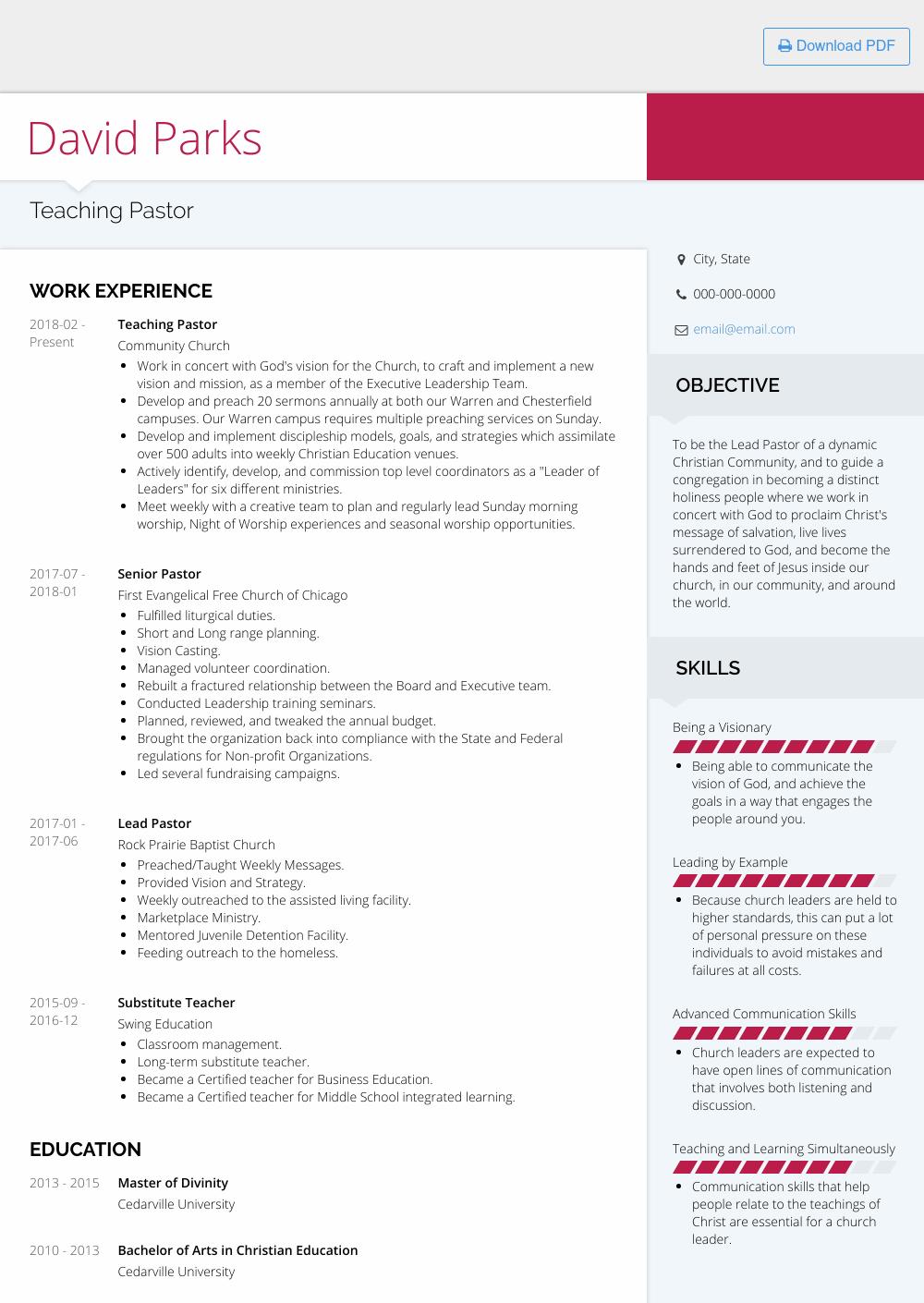 Pastor Resume Samples Templates Visualcv