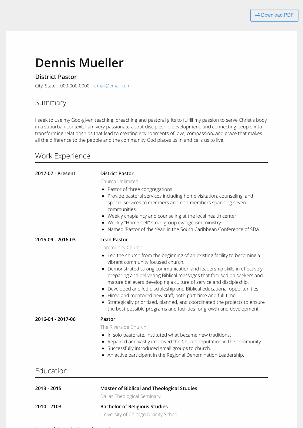 Ministry Resume Templates | Pastor Resume Samples Templates Visualcv