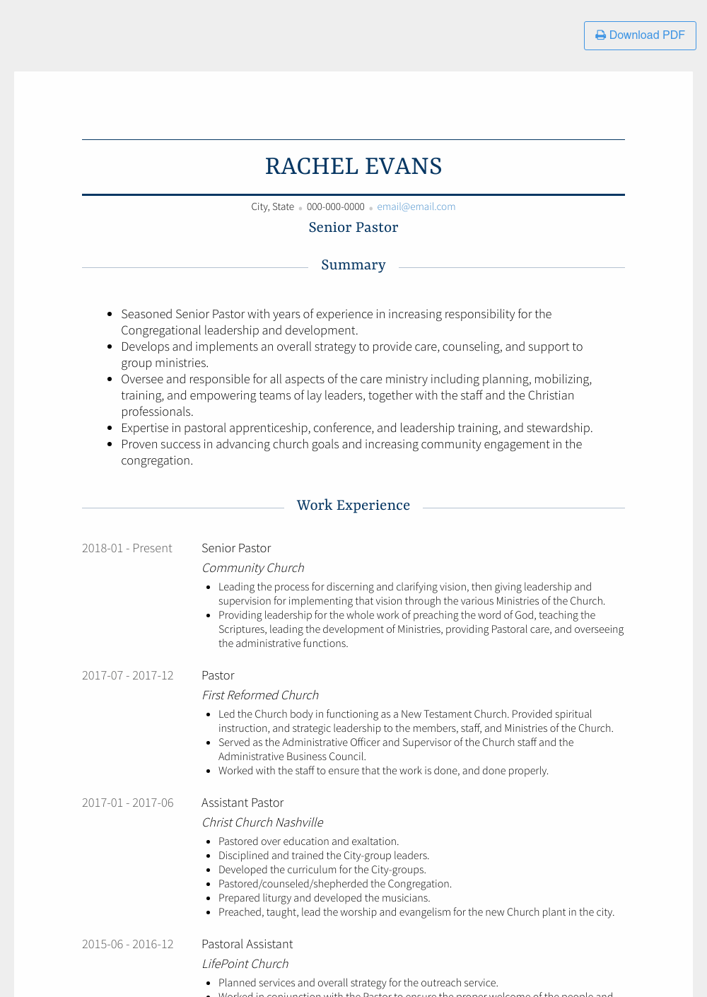 Senior Pastor Resume Sample and Template