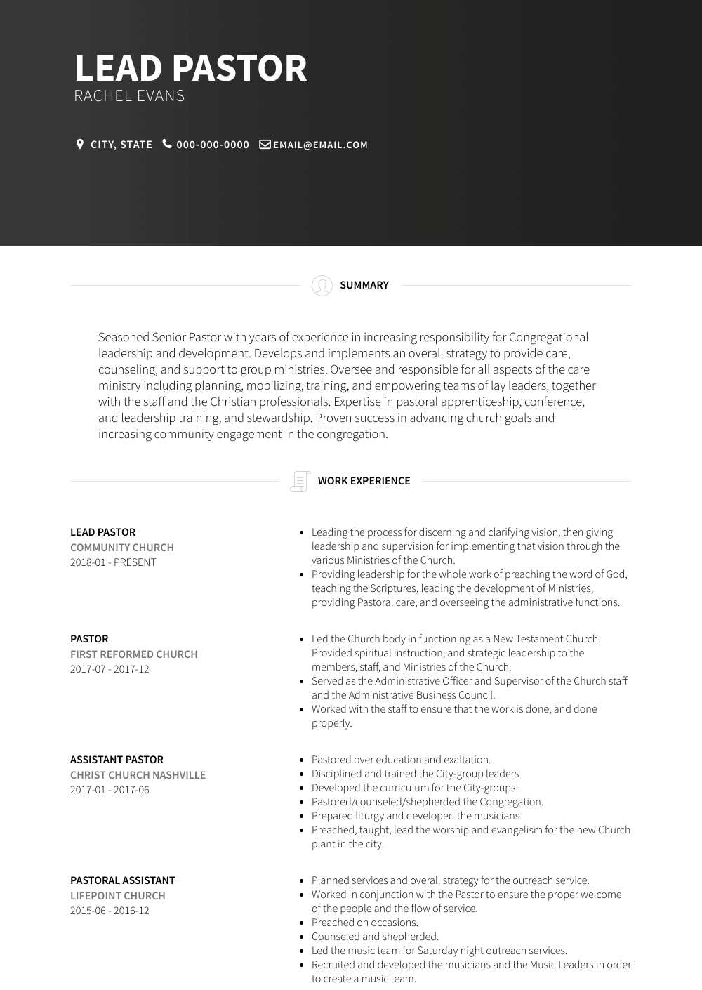 Lead Pastor Resume Sample and Template