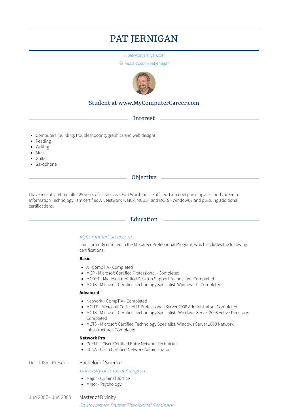 Corporal Detective Resume Sample