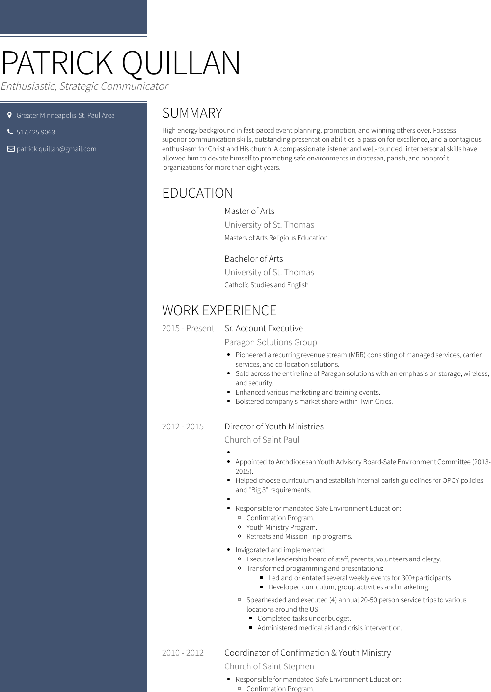 Sr. Account Executive Resume Sample