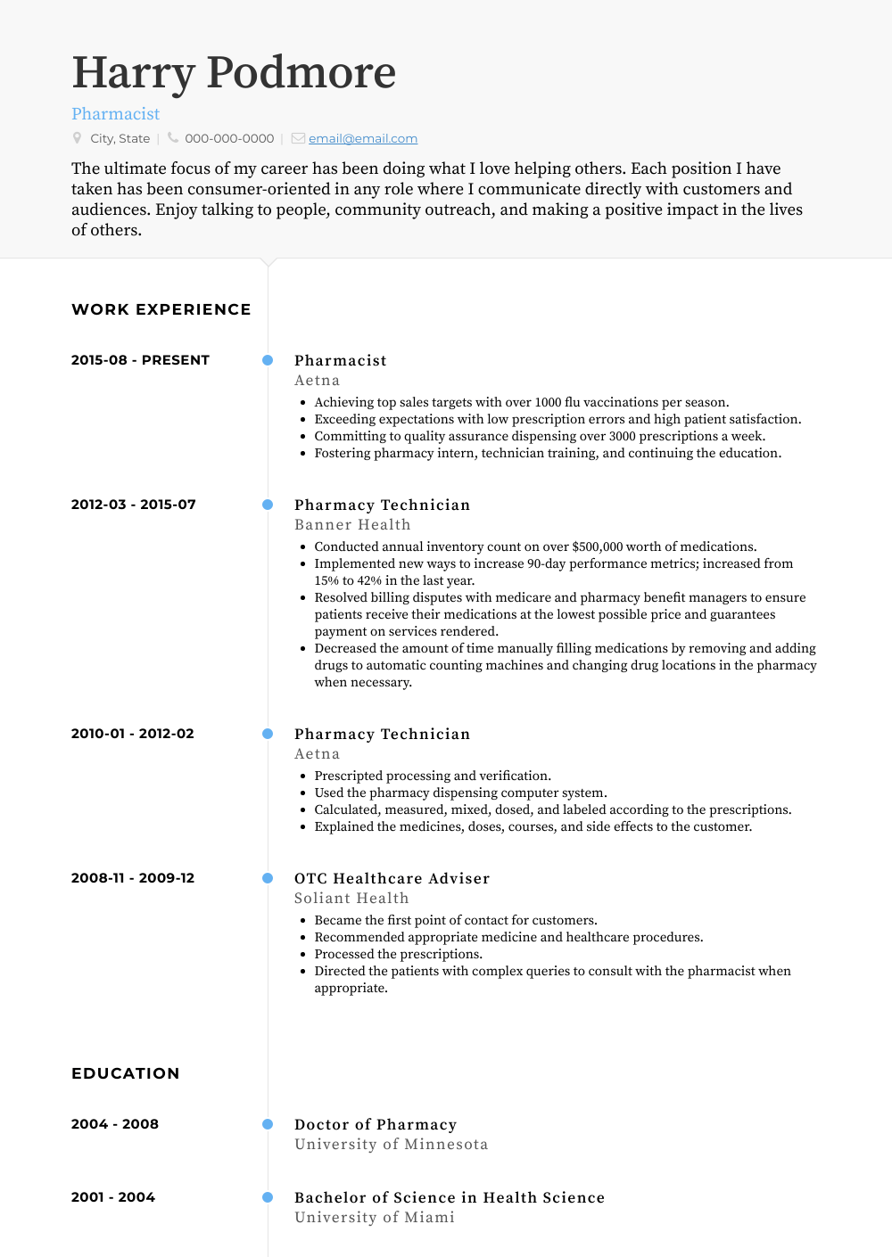 Pharmacist Resume Sample and Template