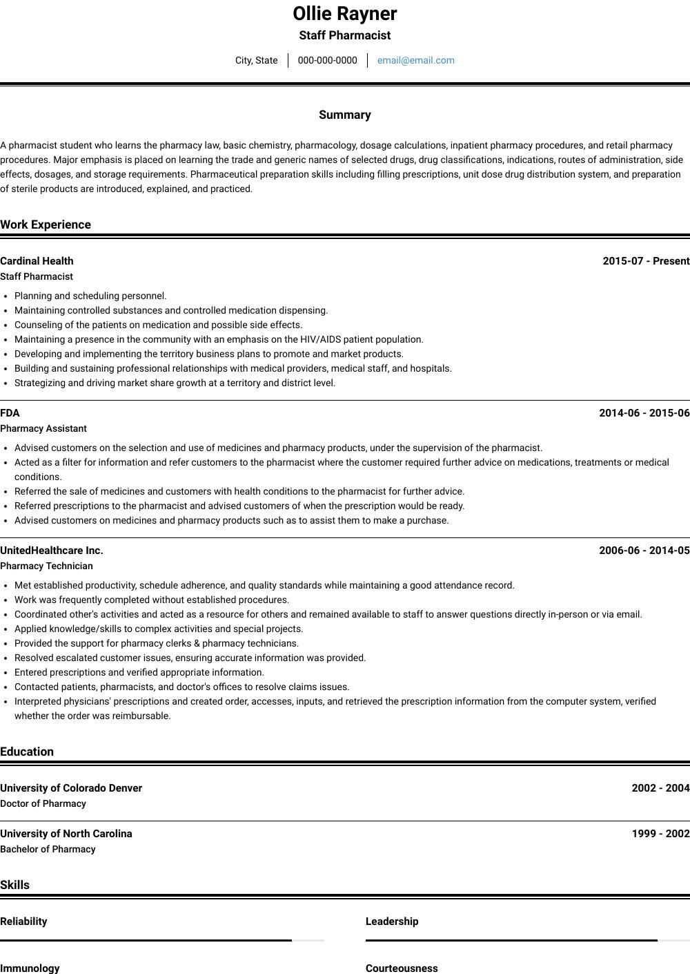 Pharmacist Resume Samples Templates Visualcv