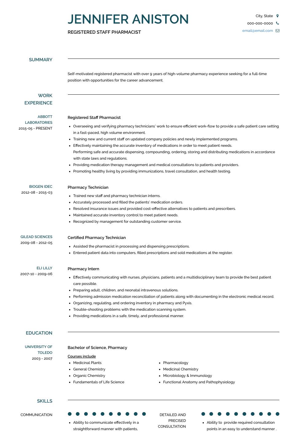 Registered Staff Pharmacist Resume Sample and Template