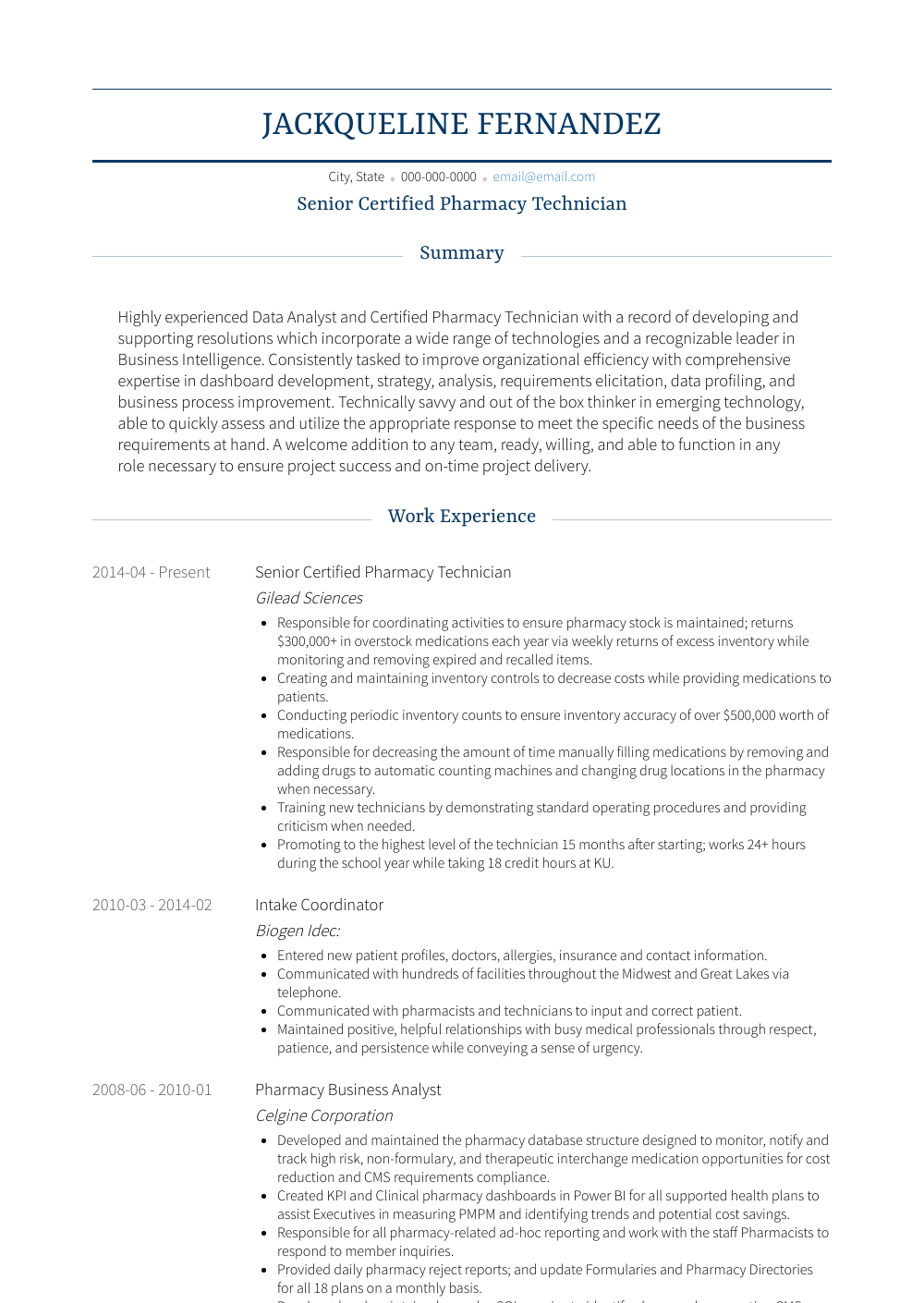 Senior Certified Pharmacy Technician Resume Sample and Template