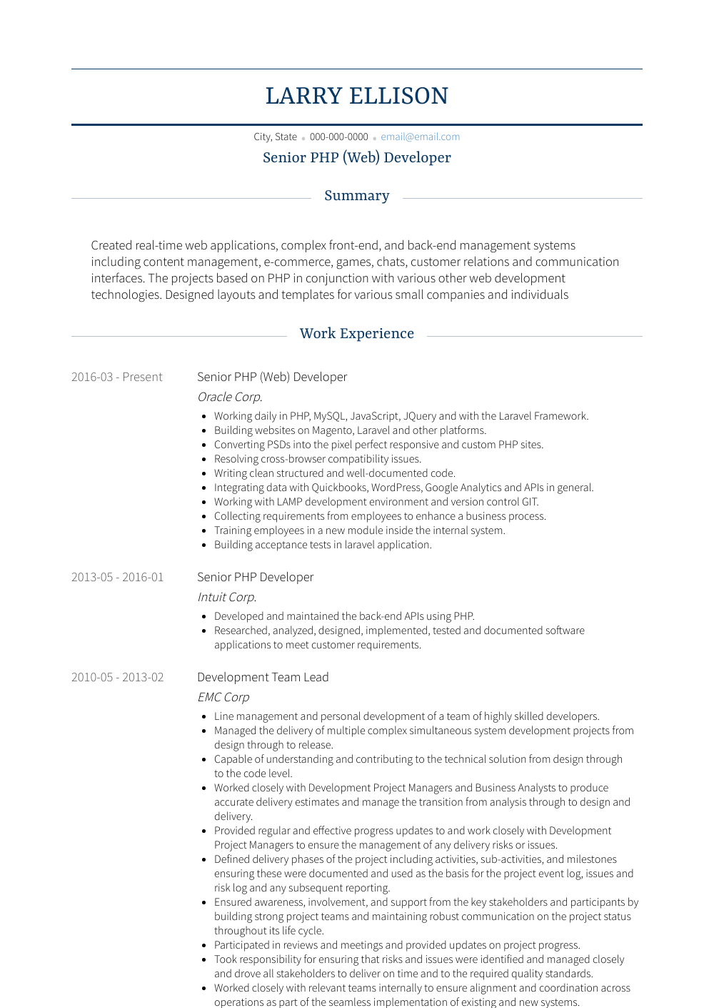 Php Developer - Resume Samples & Templates | VisualCV