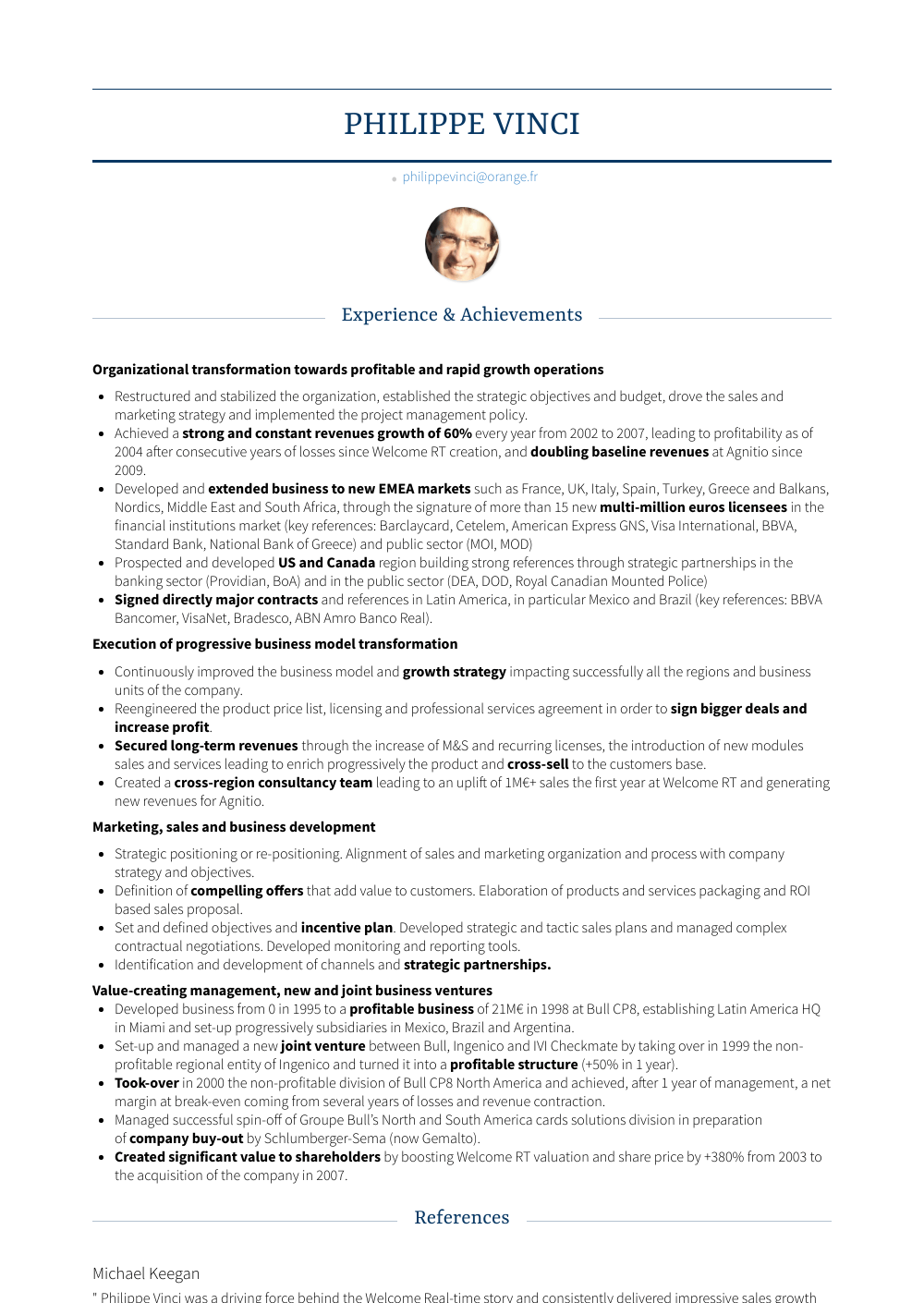 Founder And Managing Partner Resume Sample
