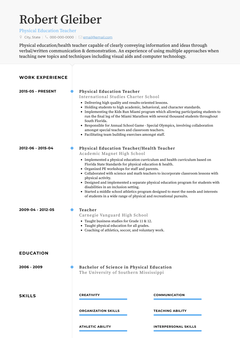 Physical And Health Educator View Sample