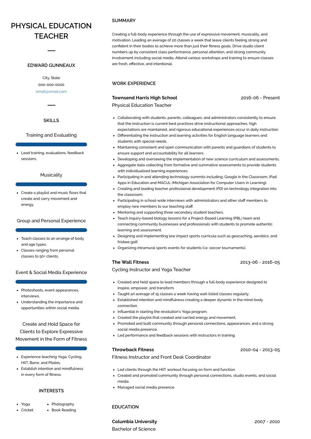 Physical Education Teacher Resume Sample and Template