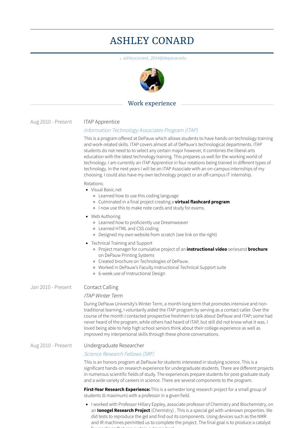 Itap Apprentice Resume Sample