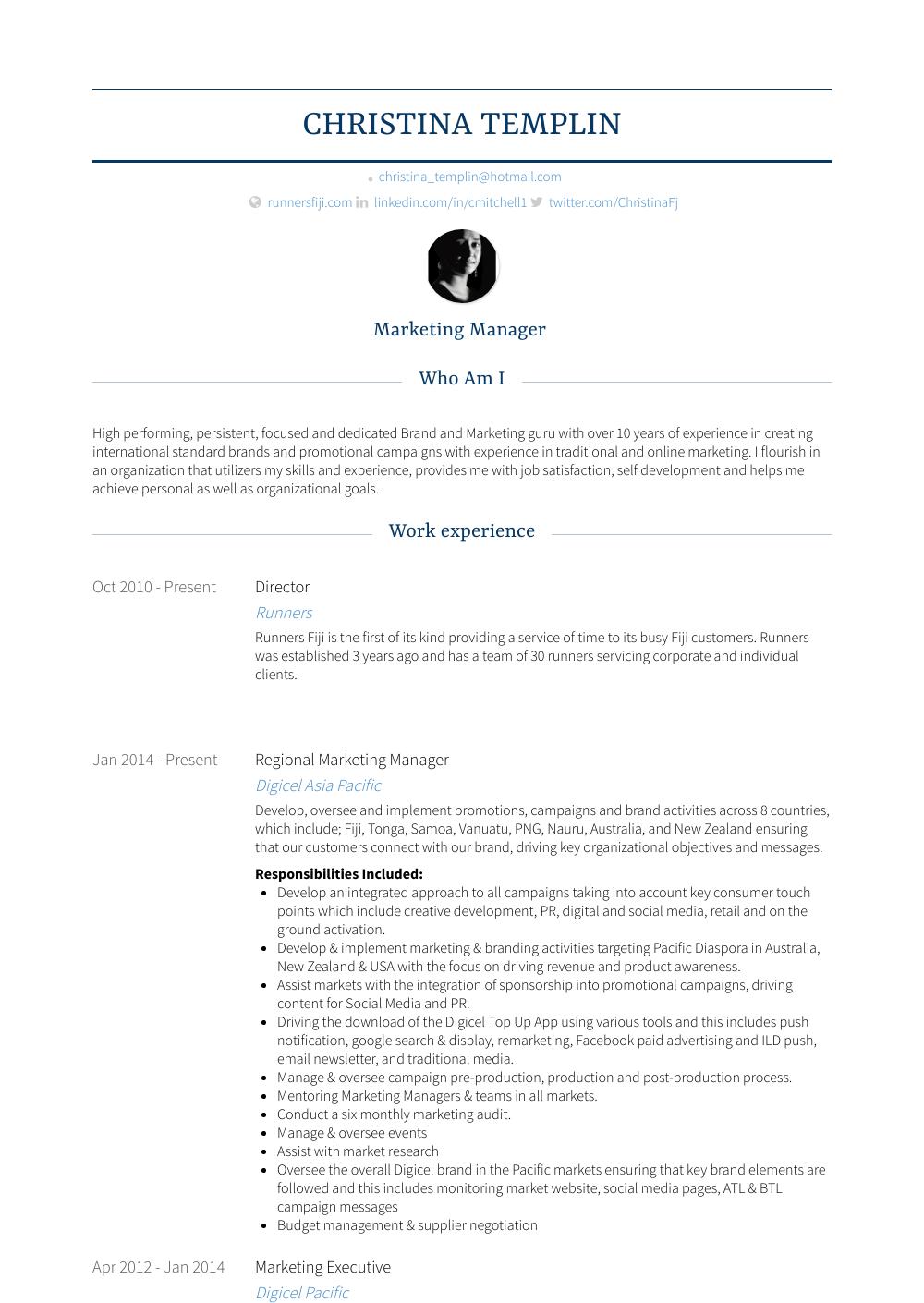 Marketing Executive Resume Sample