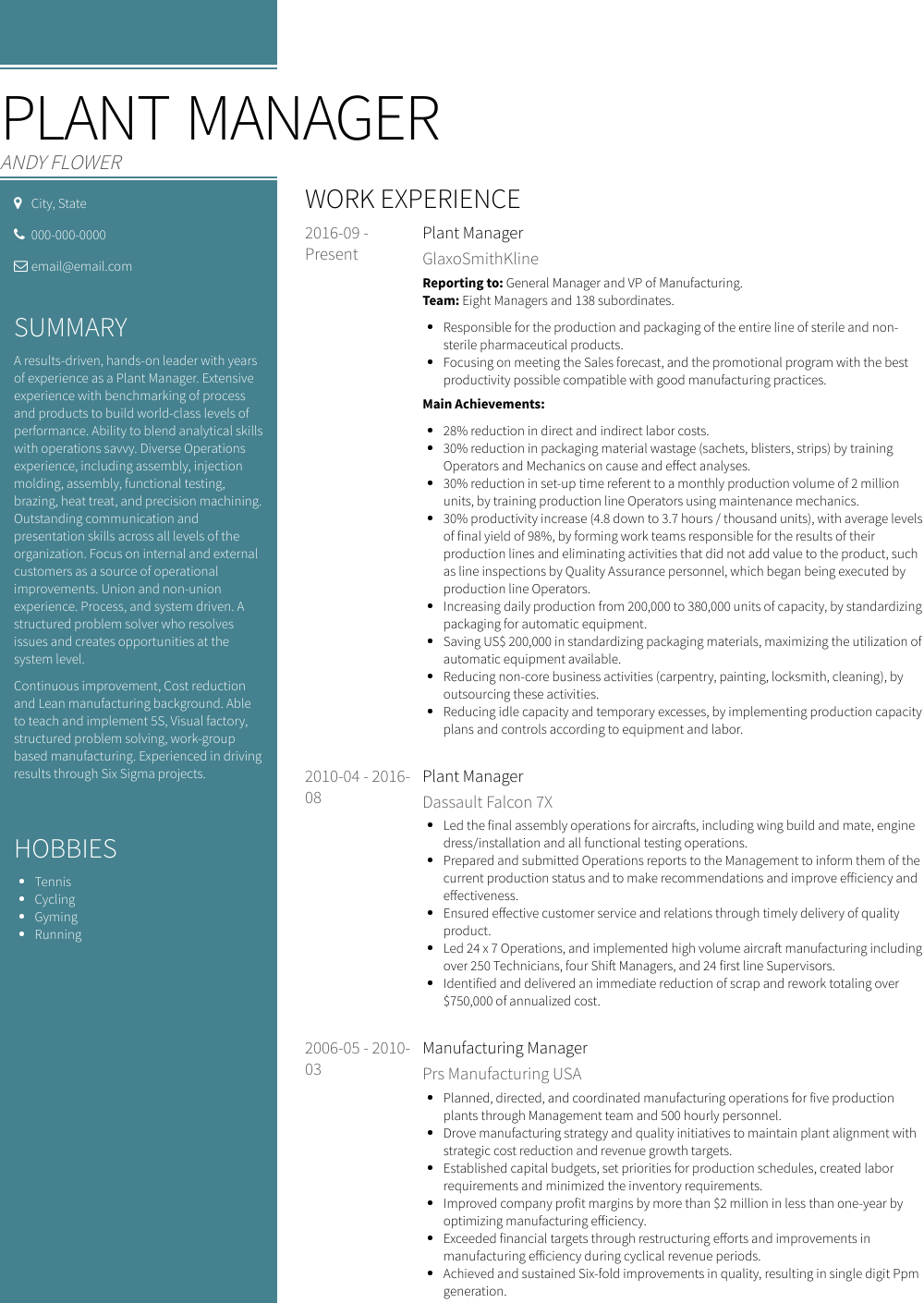 Plant Manager resume sample - free use in VisualCV