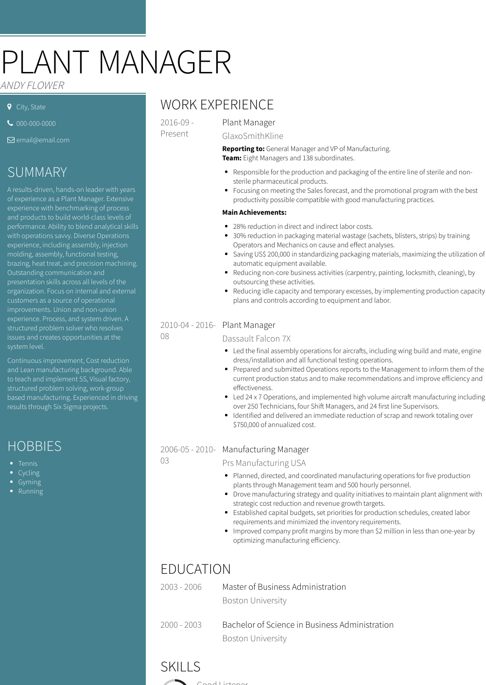 Plant Manager Resume Sample and Template