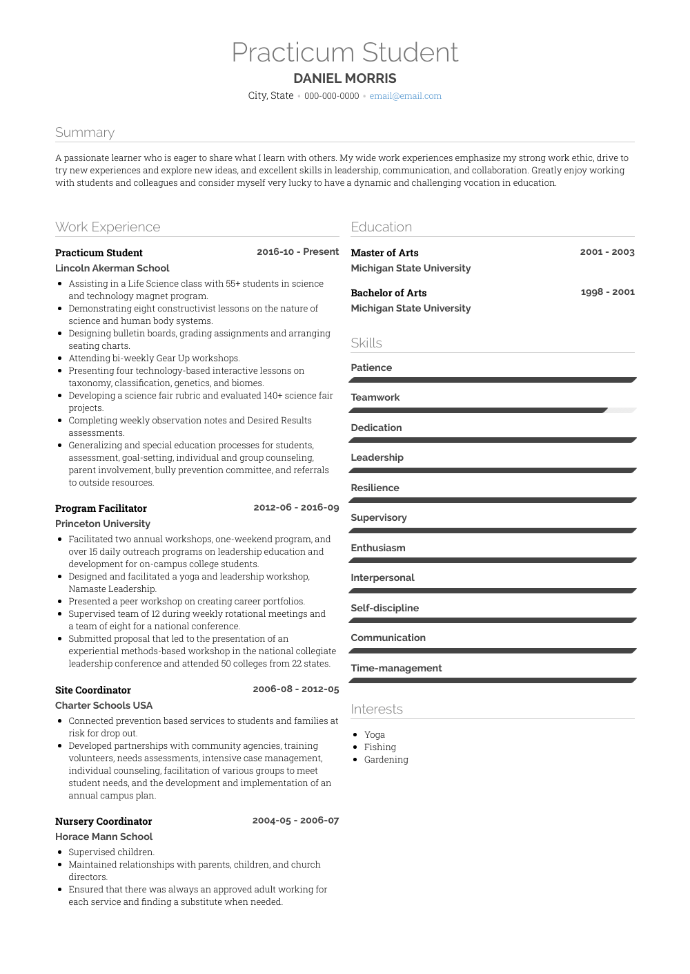 Practicum Student Resume Sample and Template
