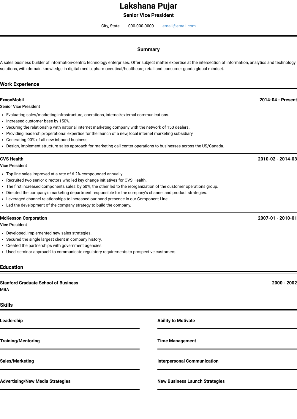 President  Resume Samples  amp  Templates