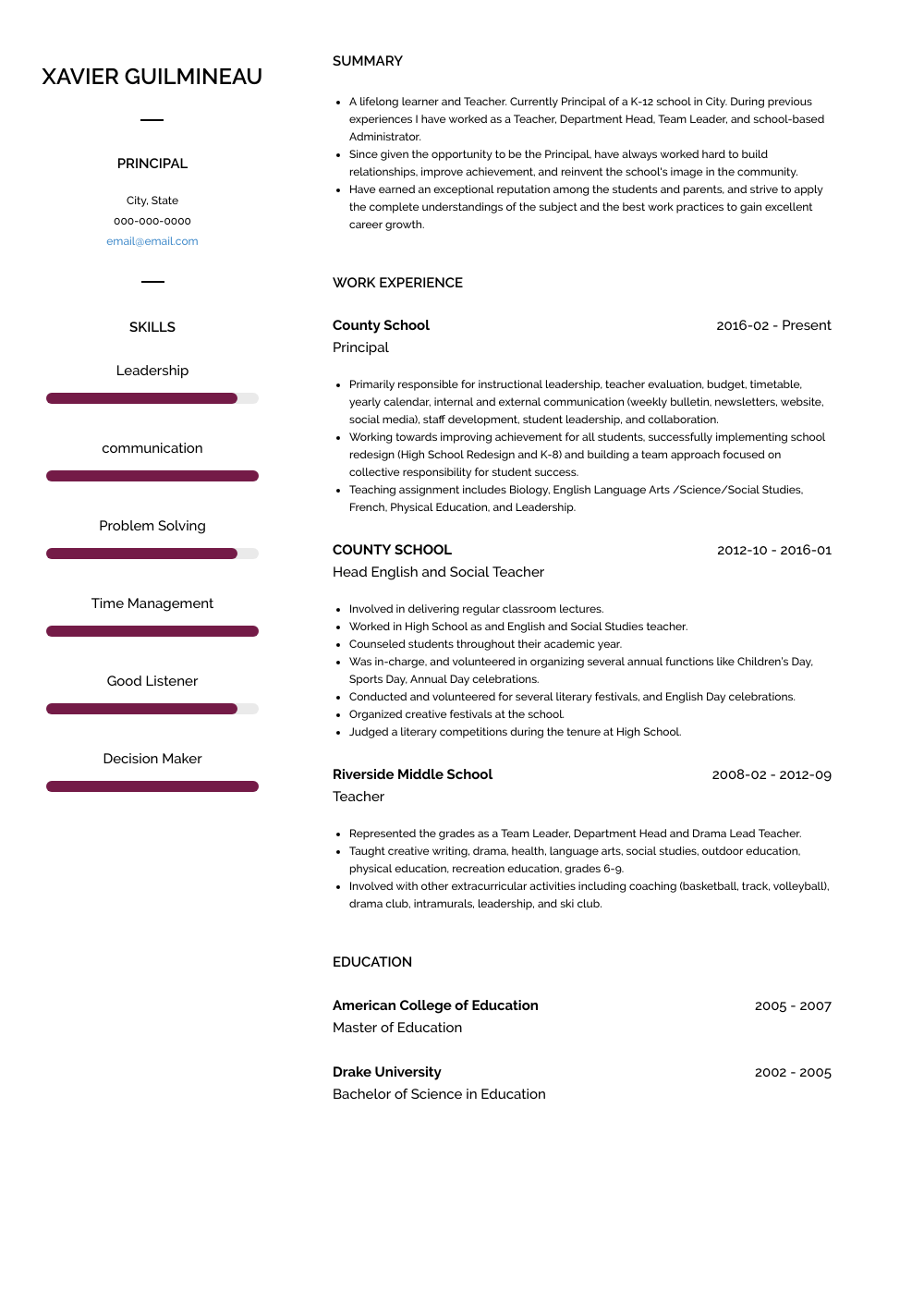 Principal Resume Sample