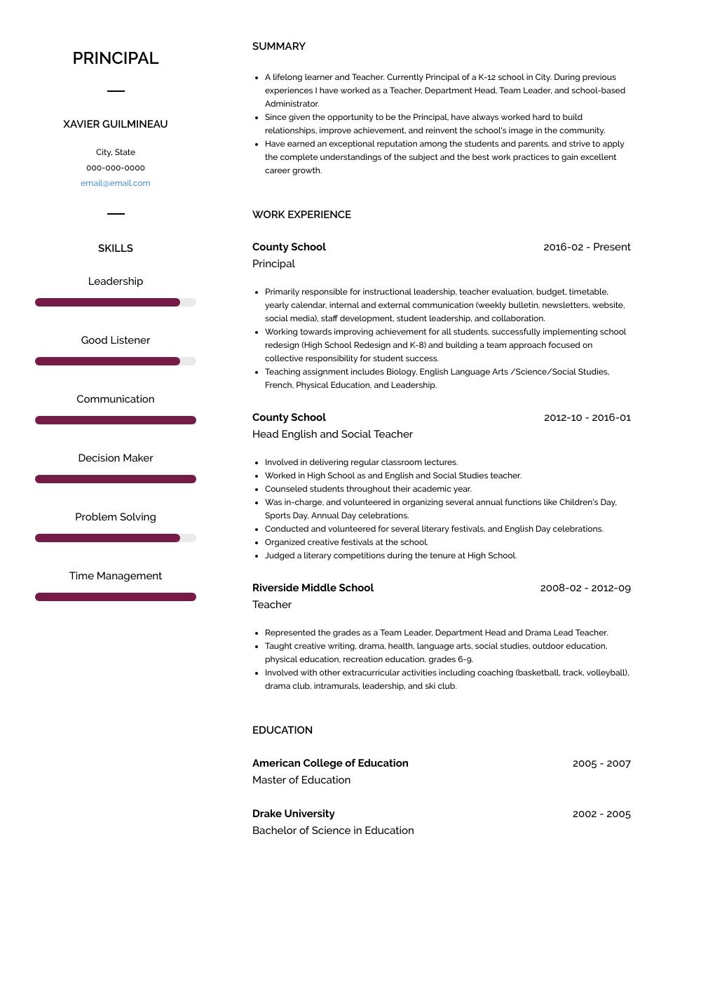 Principal Resume Sample and Template