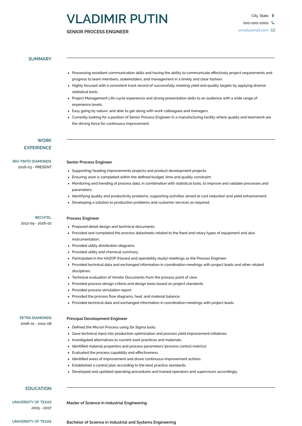 Senior Process Engineer Resume Sample and Template