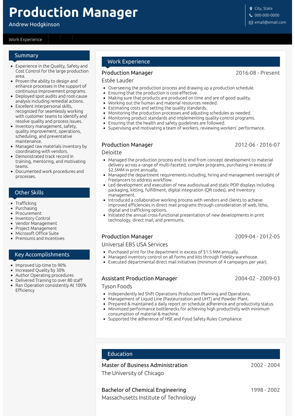 Production Manager Resume Sample and Template