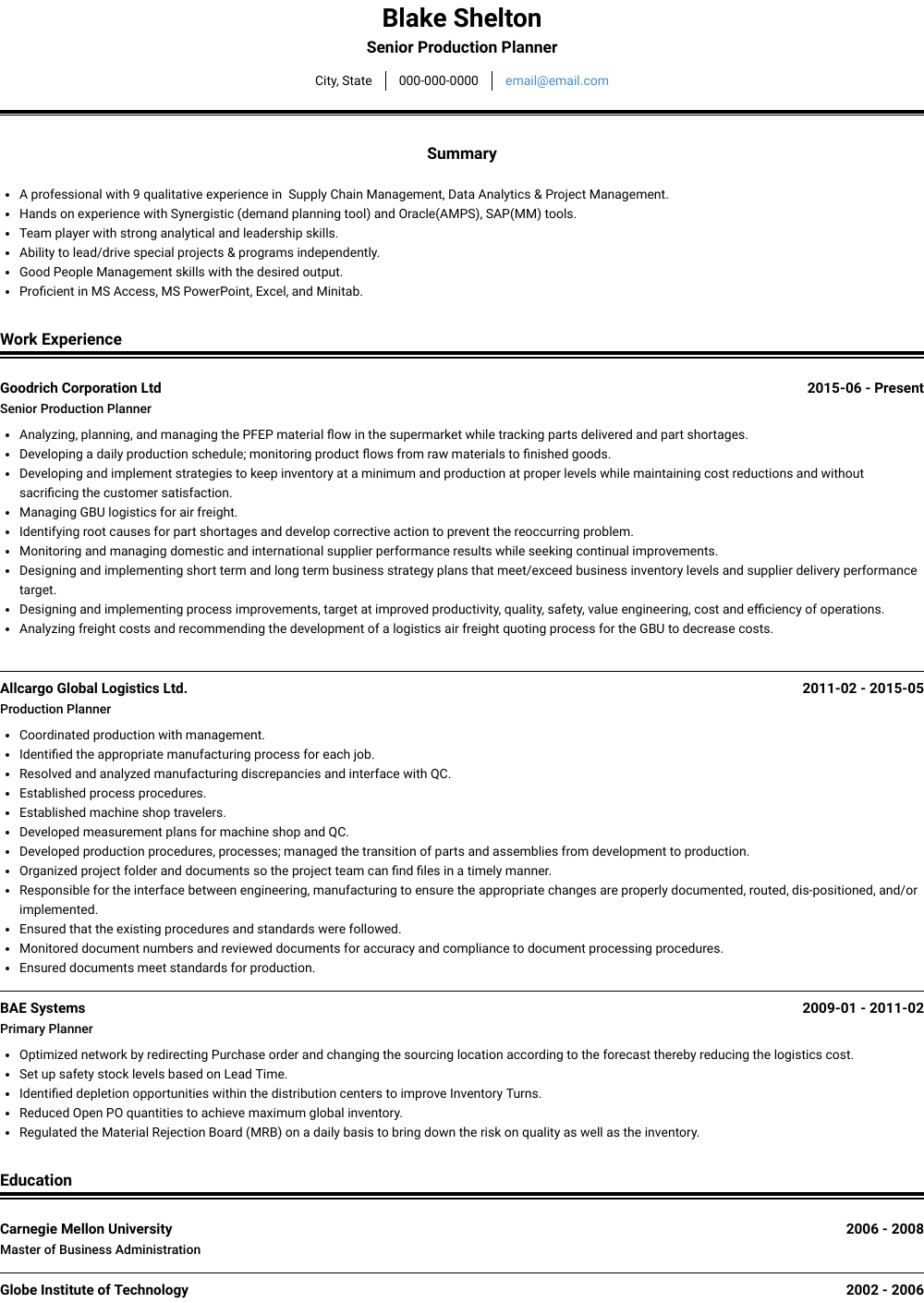 Senior Production Planner Resume Sample and Template