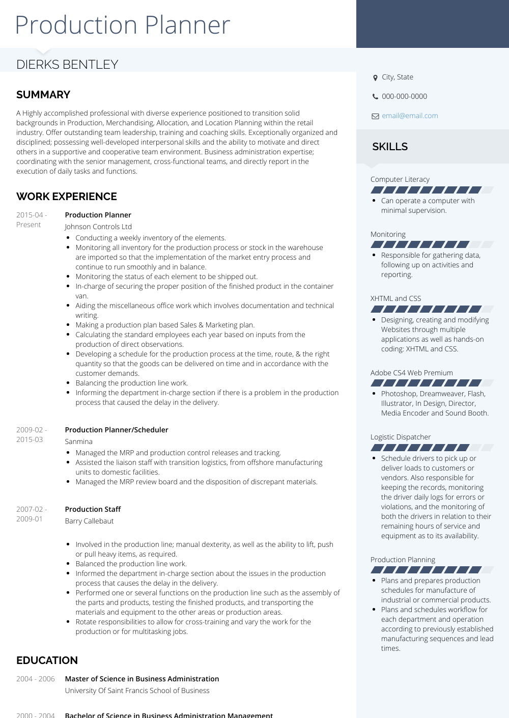 Production Planner Resume Sample and Template