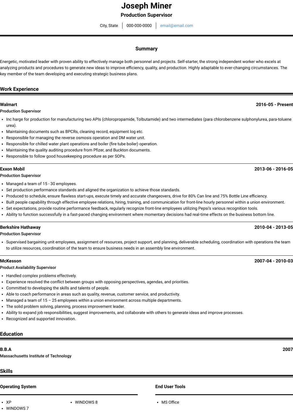 Production Supervisor Resume Sample and Template