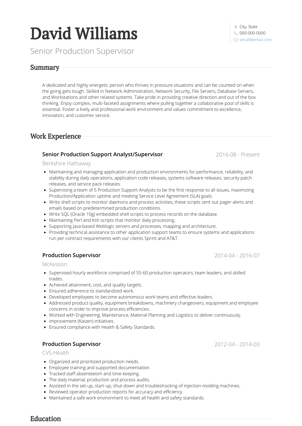 Senior Production Supervisor Resume Sample and Template