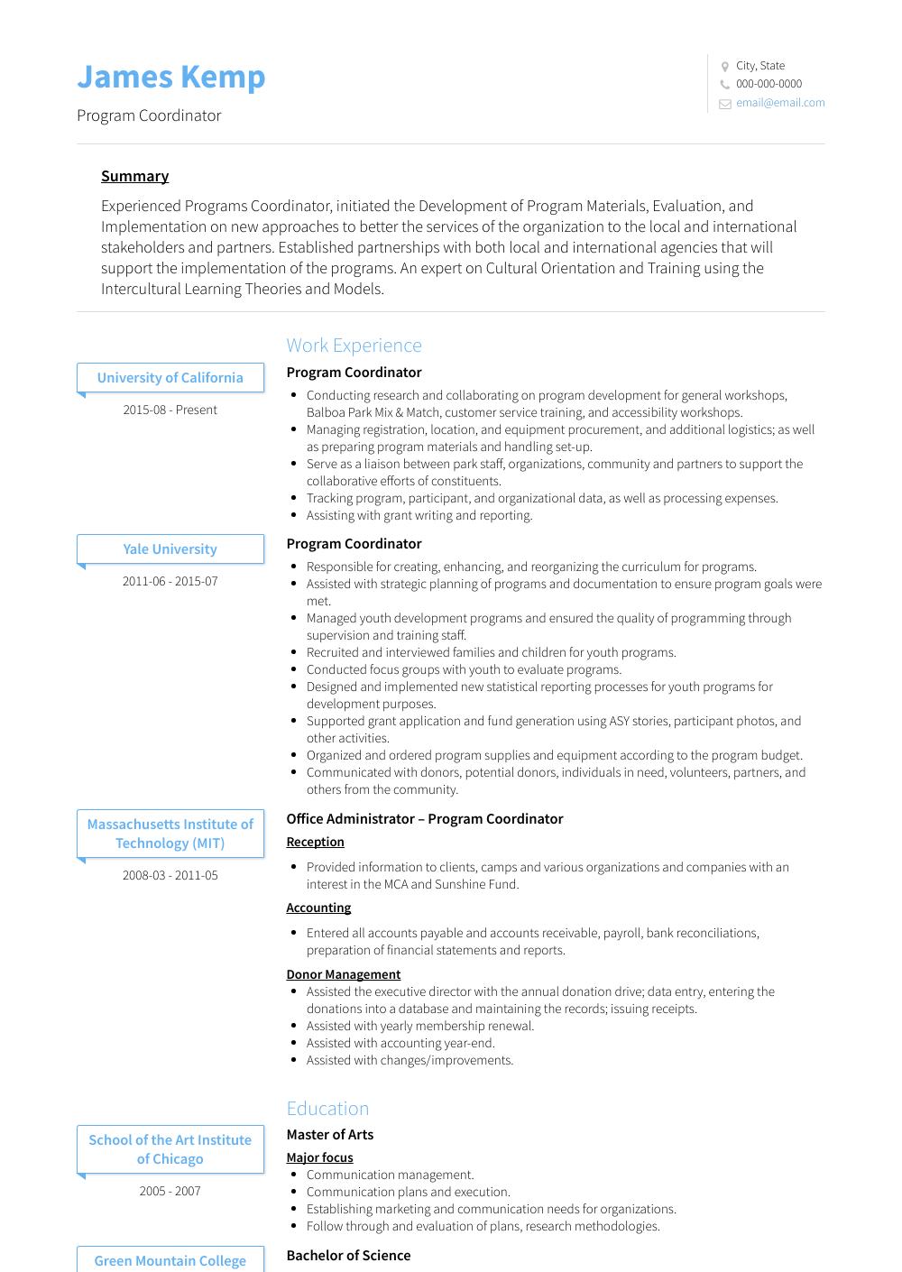 Program Coordinator View Sample
