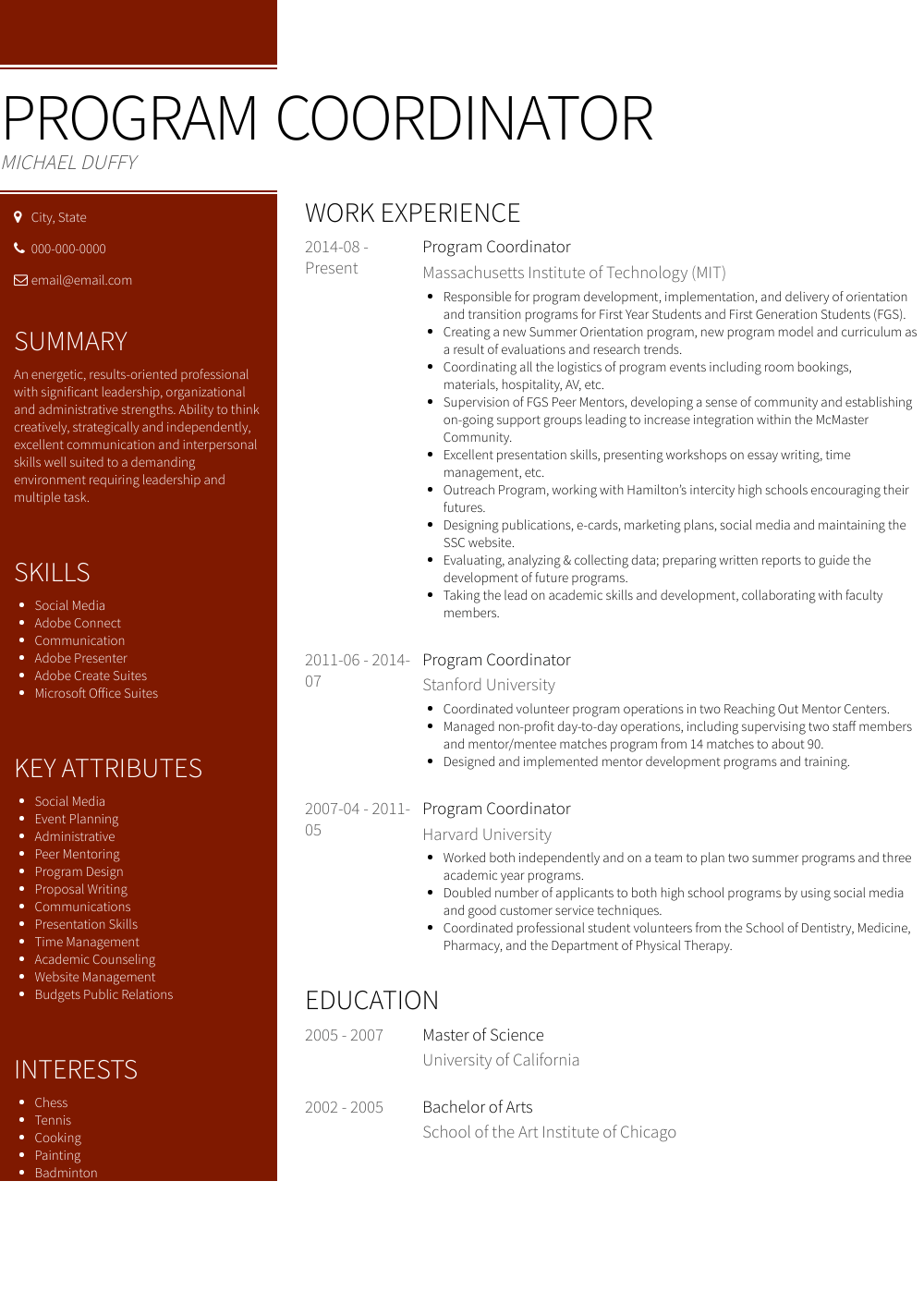 Program Coordinator Resume Sample and Template