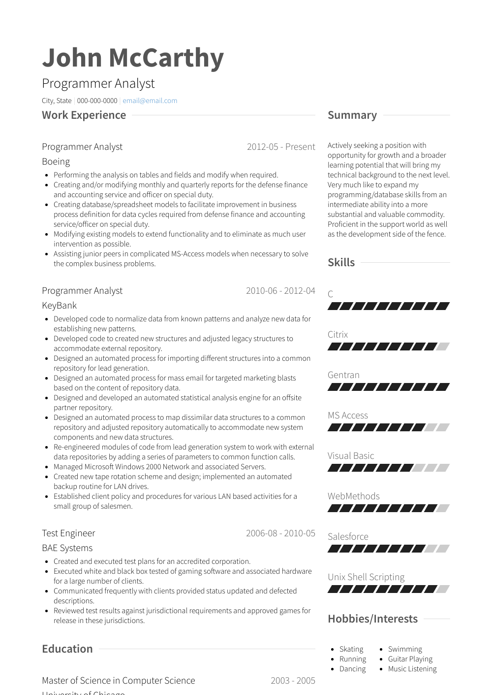 Programmer Analyst Resume Sample