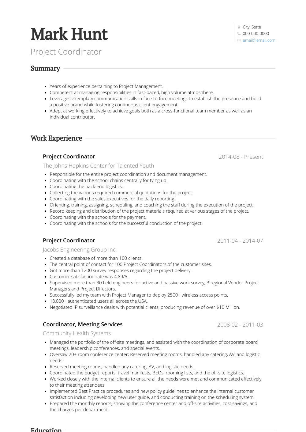 Project Coordinator Resume Sample and Template