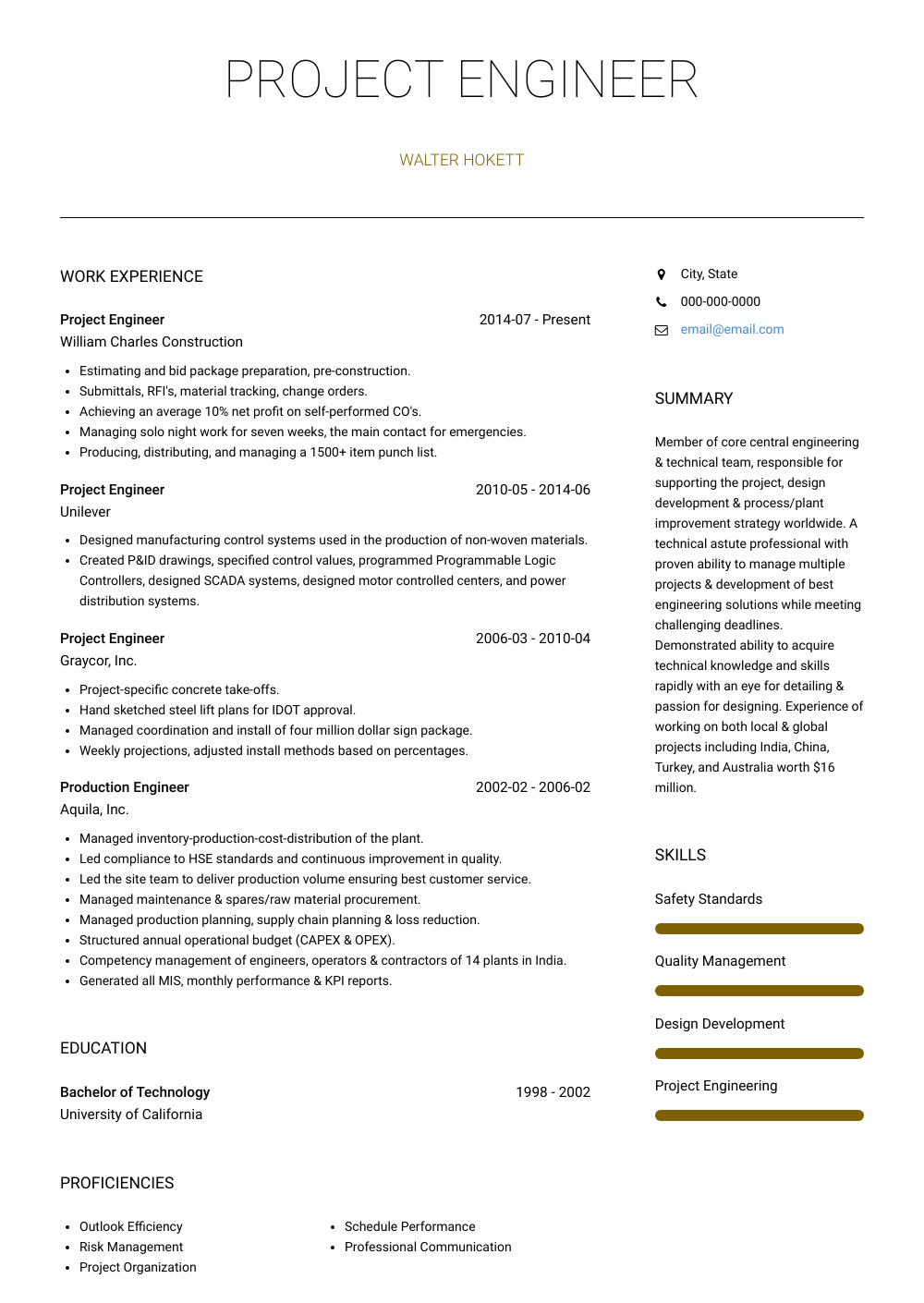 Project Engineer Resume Sample and Template
