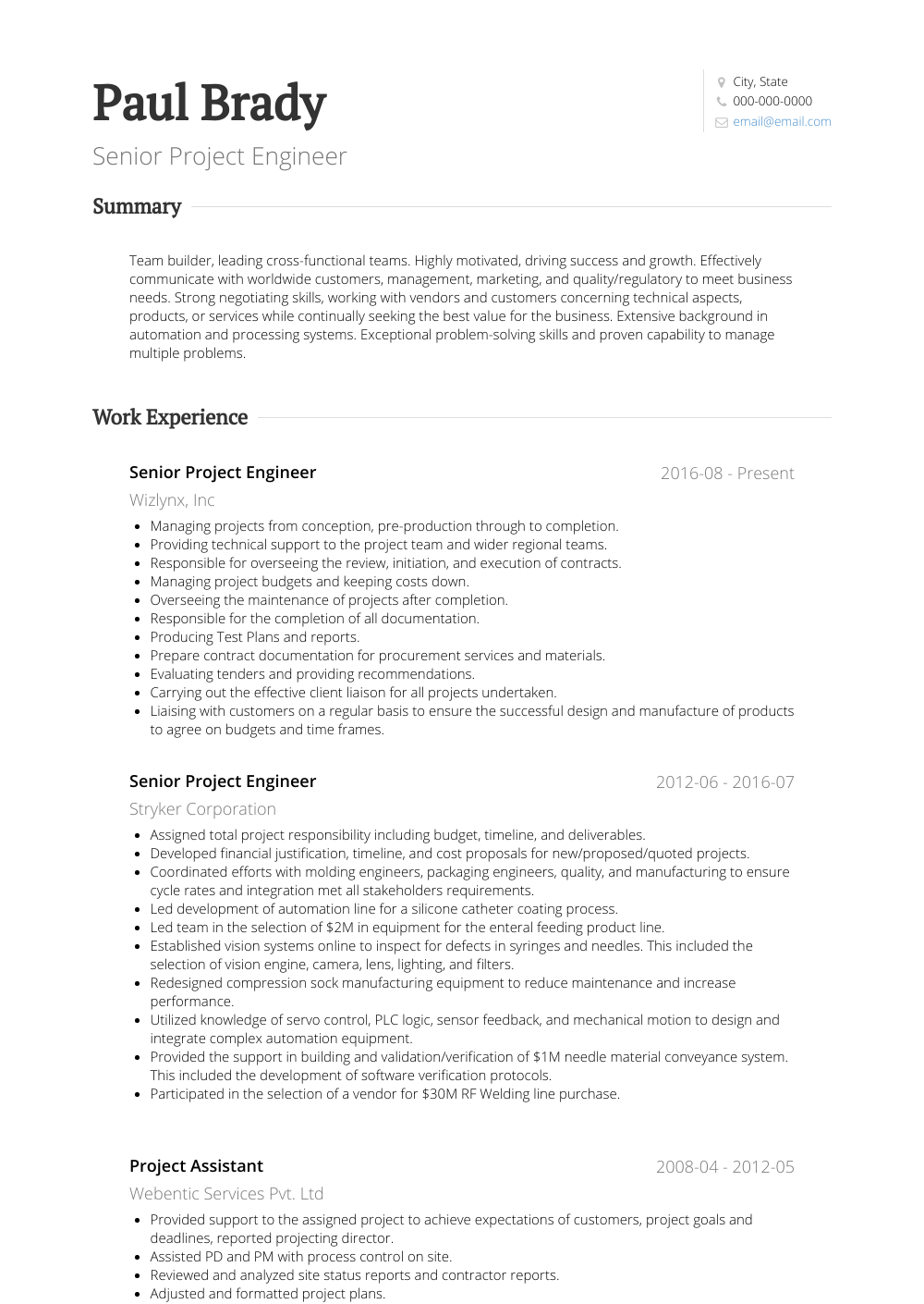 Senior Project Engineer Resume Sample and Template