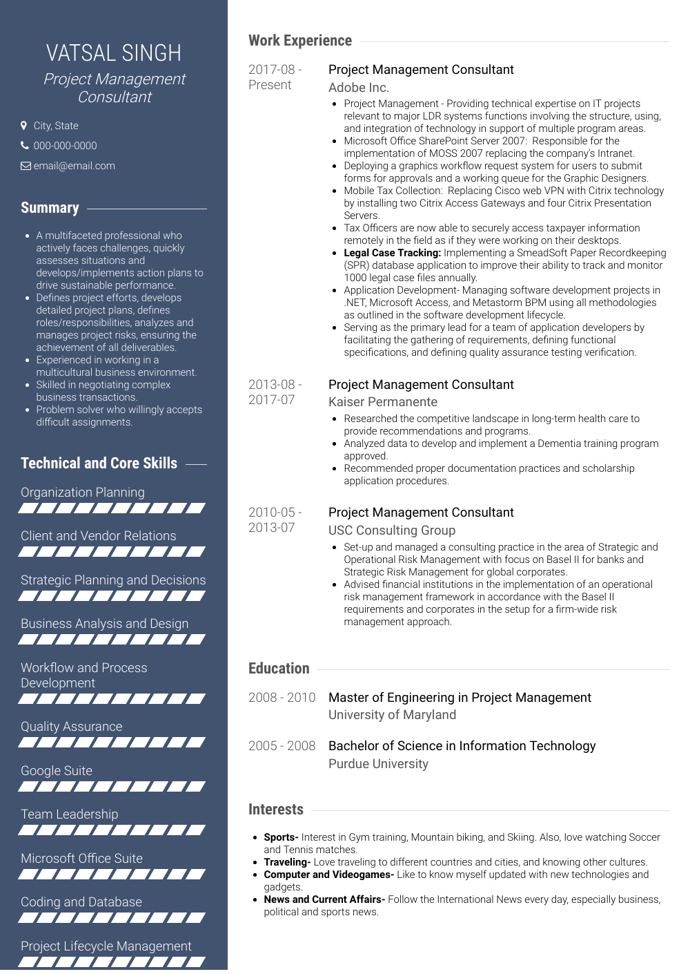 Project Management Consultant Resume Sample and Template