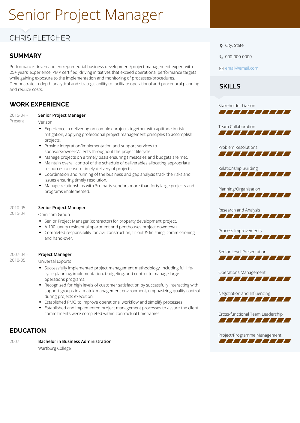 Senior Project Manager Resume Samples And Templates Visualcv