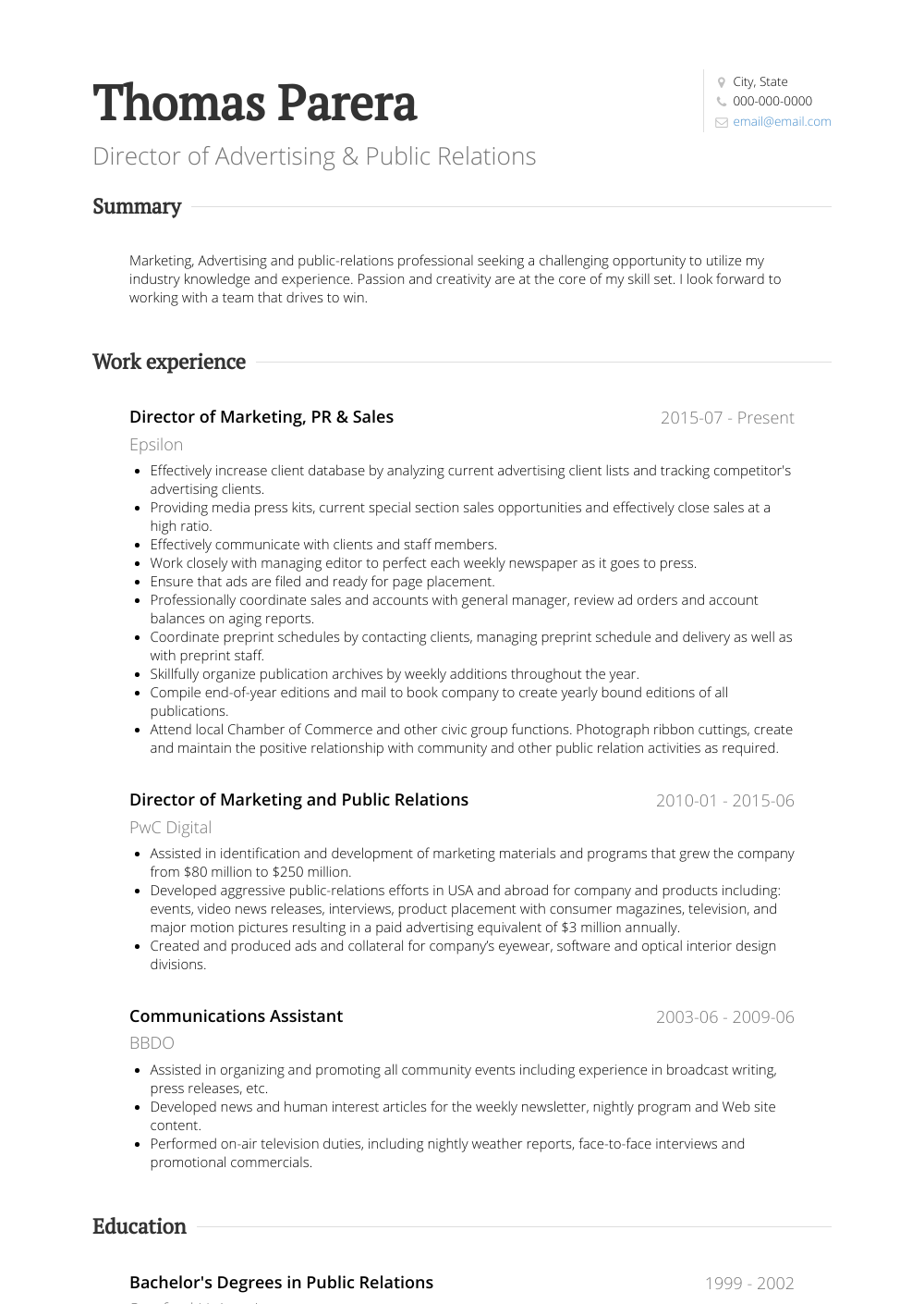 Director of Advertising & Public Relations Resume Sample and Template