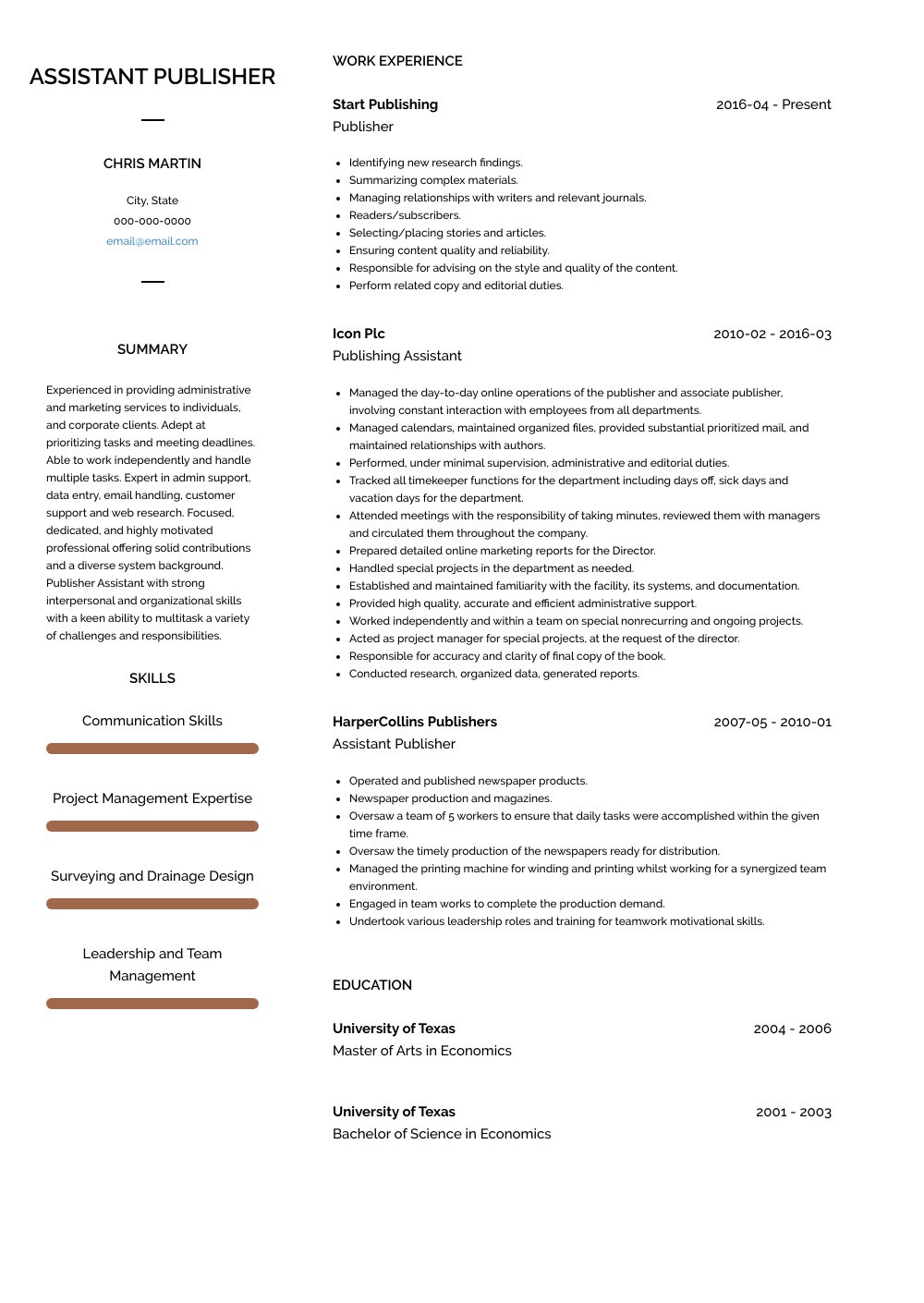 Publisher Resume Sample and Template