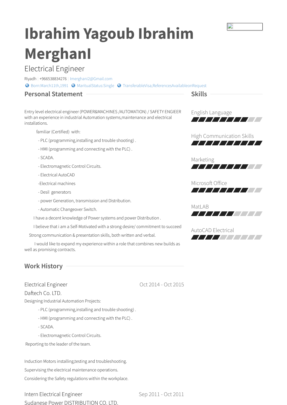 Electrical Engineer Resume Samples Templates Visualcv