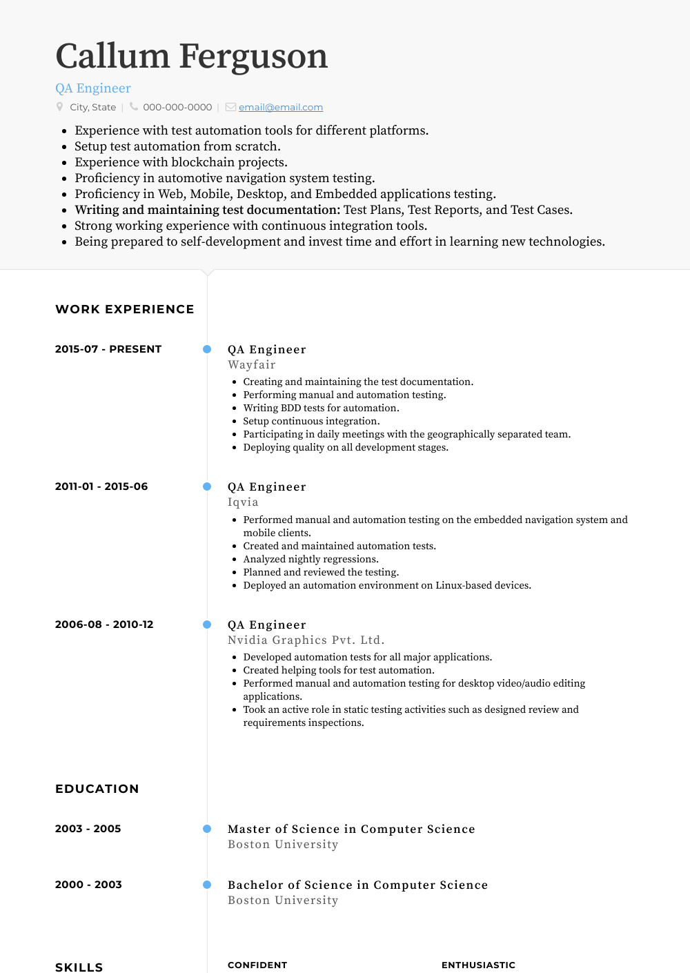 Qa Engineer Resume Sample and Template