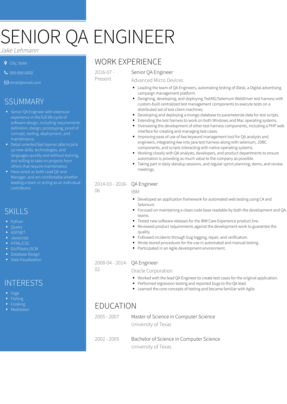 Qa Engineer Resume Sample