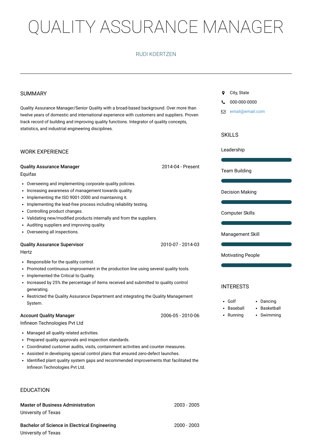 Quality Assurance Manager Resume Samples And Templates