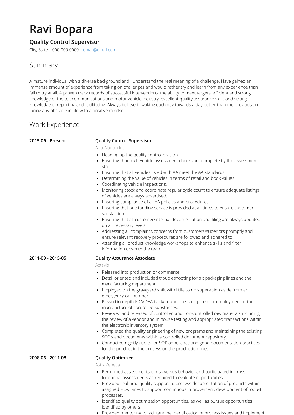 Quality Control Supervisor Resume Sample and Template