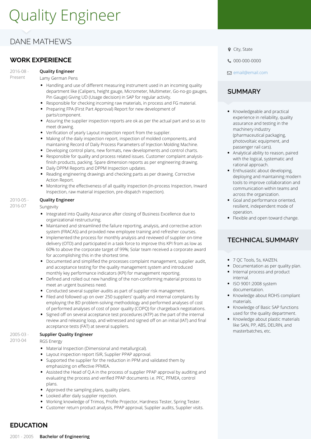 Quality Engineer Resume Sample and Template