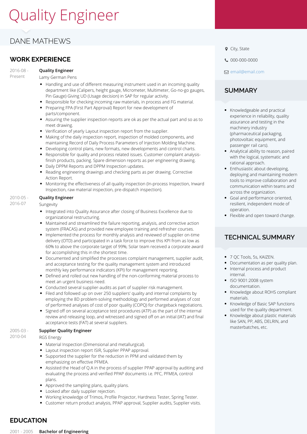 Quality Engineer - Resume Samples & Templates | VisualCV